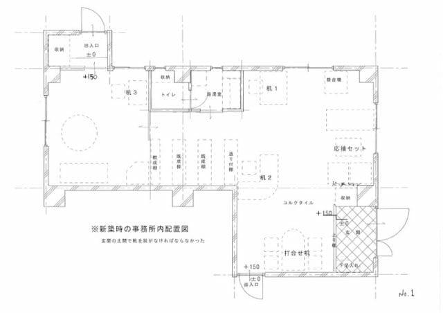 新築当時の事務所内配置図