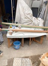 磨き丸太を面取り柱に加工